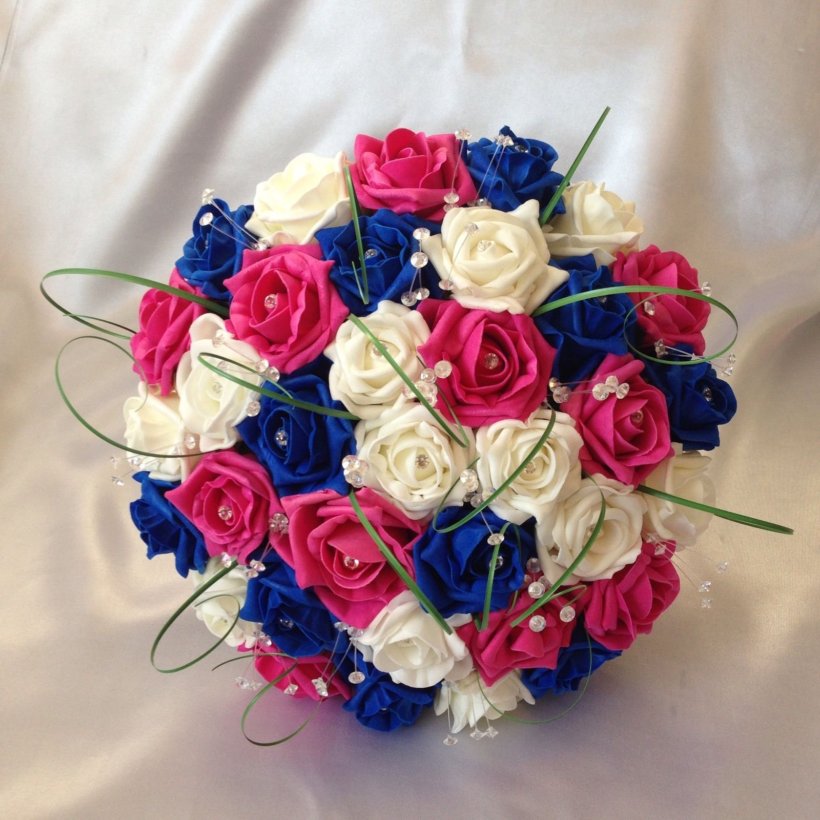 Wedding flowers artificial ivory hot pink royal blue bridesmaid rose wedding flowers artificial ivory hot pink royal blue bridesmaid rose bouquets mightylinksfo
